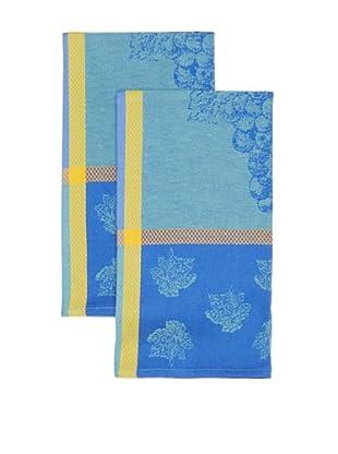 Mierco Fine Linens Set of 2 Provence Grape Jacquard Tea Towels, Blue/Green, 26