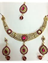 Bollywood Diamond Stone Necklace with Earrings and Tikka