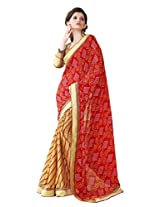 Bahubali Womens Pure traditional half bandhni and half lehria with fancy lace with pattern blouse(85612_Red and Chiku Colour Saree)
