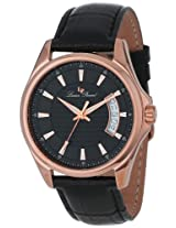 Lucien Piccard Men's 98660-RG-01 Excalibur Black Textured Dial Black Leather Watch