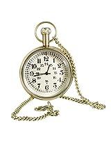 Antique Hollow Case Retro Numerals Dial Mechanical Pocket Watch Brass Metal - 1.8 Inch