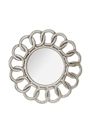 Diamond Reef Interlocking Design Carved Wooden Wall Mirror (Antique Silver)