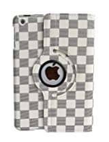White/Gray Checker Pattern for iPad MINI 360 PU Leather Rotating Magnetic Smart Cover Case WAKE/SLEEP FEATURE