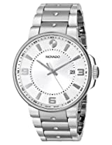 Movado Men's 0606762 SE. Pilot Stainless Steel Case and Bracelet Silver Dial Watch