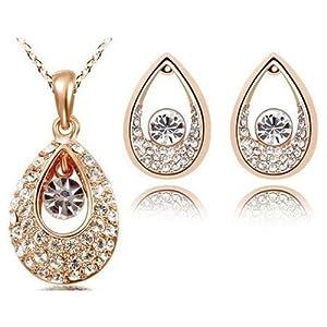 Eterno Gold Sparkling White Elegant Swarovski Crystal Pendant & Earring Set For Women
