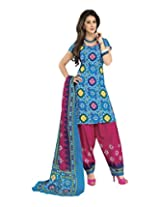 Sonal Trendz Women's Cotton Blue Printed Dress Material