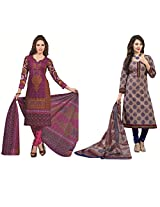 Rajnandini Combo of cotton Printed Unstitched salwar suit Dress Material (Black & Blue _Free Size)