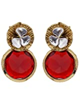 Hyderabadi Abhushan flower shaped earrings with red stone