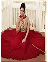 The Maroon and Golden Designer Georgette Anarkali Suit