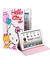 Hello Kitty Themed Apple iPad Mini Folio with Teddy Bear Pattern (Leather Finish, Auto Sleep/Wake, Magnetic Closure, 4x Angle Stand)