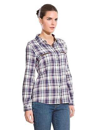 Cortefiel Camisa Cuadros Y Cremallera (Azul / Blanco)