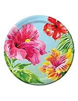 Creative Converting 18 Count Paper Dessert Plates, Heavenly Hibiscus