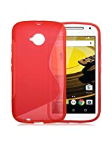 Moto E 2nd Gen Case, Ziaon(TM) S Line TPU Soft Silicon Gel Back Case Cover For Motorola Moto E2 4G 2nd Gen - Red