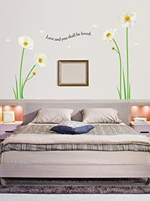 Ambiance-Sticker Vinilo Adhesivo Flores De Amapola Blancas