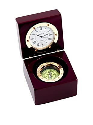 Compass & Clock in Lacquered Rosewood Hinged Box