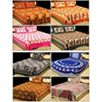 Jaipuri Print 100% Cotton 4 Double & 4 Single Bed Sheets with 12 Pillow Covers