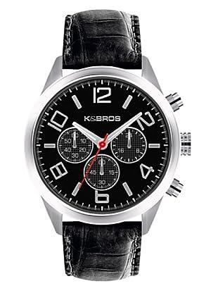 K&BROS 9484-1 / Reloj de Caballero  con correa de piel Negro
