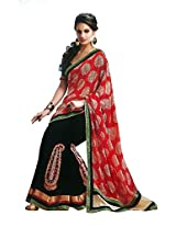 Faux Georgette Saree in Black Colour for Party Wear