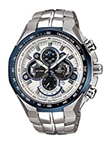 CASIO EDIFICE EF-554D-7AV WHITE DIAL BLUE RING CHRONOGRAPH MENS WATCH
