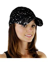 Women's Lace Glitter Sequin Baseball Hat Cap Black