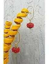 No Strings Attached Red Hyderabad Minakari Moti Dangler Earrings