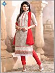 New Arrival Red With White Designe Anarkali Suit uf6027