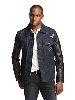 Denim & Leathers by andrew Marc Men's Trucker with Leather Sleeves (Indigo/Black)