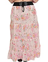 Exotic India Long Skirt with Printed Roses and Elastic Waist - Color Crystal PinkGarment Size Free Size