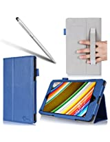 i-BLASON Lenovo Thinkpad 8 Case - For 8.3 Inch Tablet Leather Book Cover (Elastic Hand Strap, Multi-Angle, Card Holder) With Bonus Stylus 3 Year Warranty (Lenovo Thinkpad 8, Blue)