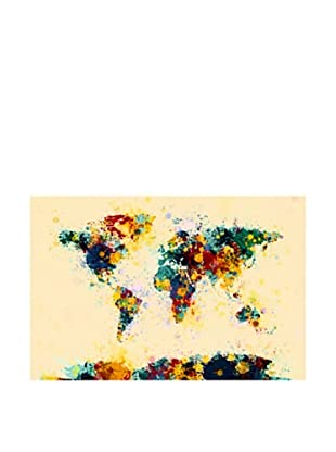 Trademark Fine Art World Map Paint Splashes by Michael Tompsett