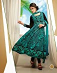 Green & Black Top Cotton with Cotton Bottom & Georgette Dupatta With Embroidery & Print Anarkali Salwar Kameez Suit