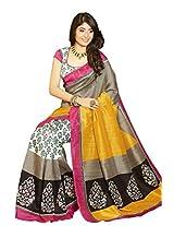 Vipul Silk Saree With Blouse Piece (10920 -Yellow)