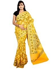 Bunkar Banarasi Ethnic Net Saree With Blouse Piece_931-GOLD