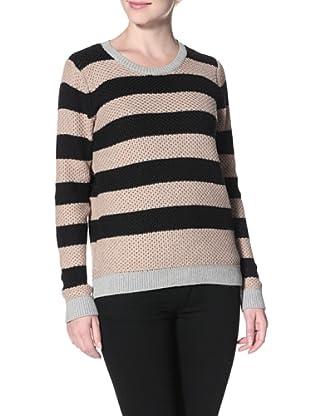 Shae Women's Moss Stitch Sweater (Twine/Black Stripe, Heather Gray Rib)