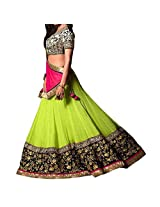 F3 Fashion Women's Georgette Lehenga Choli(7902_Green_Free Size)