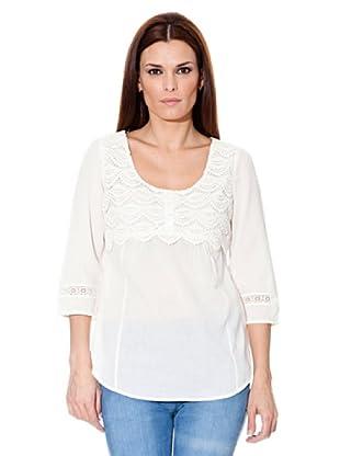 Cortefiel Bluse Crochet (Weiß)