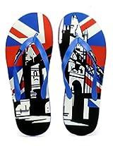 Freetoes Men England Multicolor Flip Flops (FTENGRBLUE09) 10 UK