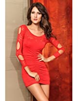 Sexy Mini Dress With Sleeve Precious Red Lace