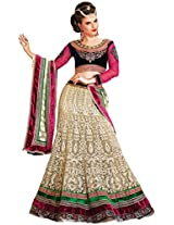 Brijraj Women's Unstitched Resham Lehenga (098901317000_Cream/Blue & Pink_Free Size)