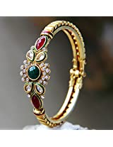 Drop Dead Green & Red Stone Gold Plated Bangle