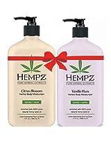 Hempz Citrus Blossom Herbal Body Moisturizer (17 fl oz) and Vanilla Plum Herbal Body Moisturizer (17 fl oz) Bundle