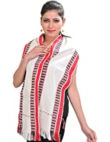 Exotic India Scarf from Nagaland with Thread Weave on Border - Color Egret WhiteColor Free Size