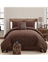 VCNY Nora 4-Piece Comforter Set, King, Chocolate