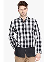 Black Checked Slim Fit Casual Shirt Locomotive