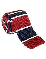 "Retreez Smart Elegant Wide Stripes Men's 2.4"" Skinny Knit Tie - Burgundy and Navy Blue"