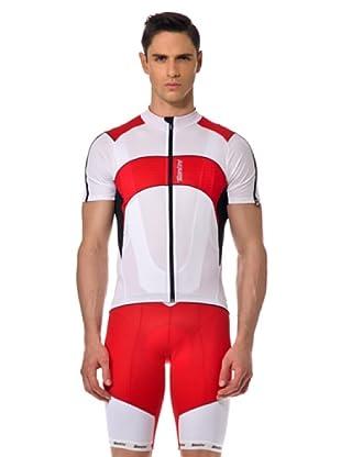 Santini T-Shirt Zip (Weiß/Rot)