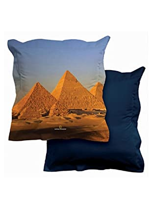 National Geographic Funda de cojín Egypt (Azul / Celeste / Amarillo)