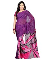 Admyrin Purple Printed Saree with Blouse Piece