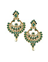 Ethnic Green & White Coloured Stone, Shell Pearl & Gold Plated Big Chand Bali Earrings