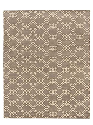 Handmade Trellis Wool Rug, Cream/Gray, 8' x 10'